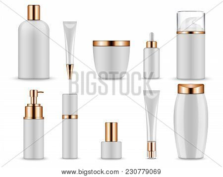 Vector Realistic Mockup For Cosmetic Containers For Creams And Tonic Bottles. Bottle And Tube, Tonic