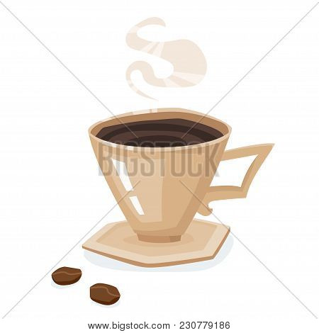 Coffee Cup, Saucer And Beans Isolated On A White Background. Delicious And Tasty Coffee In Beige Cup