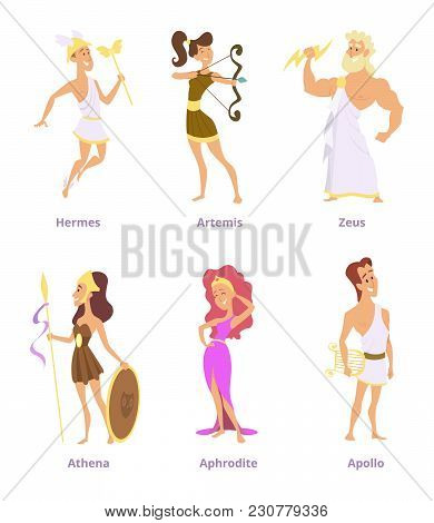 Greek Ancient Gods. Set Of Cartoon Characters Male And Female. Vector Greek God Apollo And Artemis,