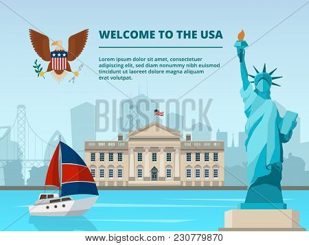 American Urban Landscape With Historical Architectural Symbols And Landmarks. Vector Urban Building