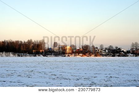 View Of Neva River And Lutheran Church Of St. Catherine On The Outskirts Of St. Petersburg At Sunny