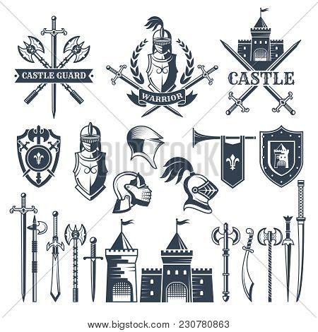 Monochrome Pictures And Badges Of Medieval Knight Theme. Illustrations Of Helmets, Swords. Vector Sh