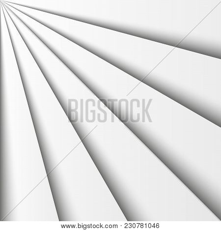 Overlapping Grey Paper Sheets Arranged In A Fan. With Shadow Effect. Abstract Vector Background Wall