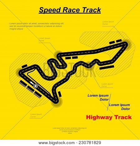 Speed Car Racing Circuit Road With Sample Text Isolated On Yellow Background
