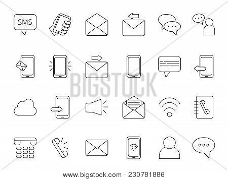 Mono Line Icon Set Of Business Theme. Symbols Of Communication. Phone Chat And Sms, Speech And Discu