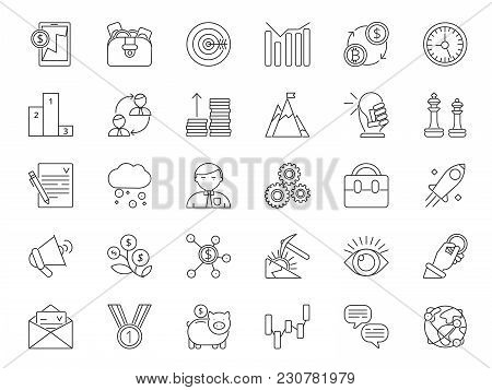 Mono Line Icon Set Of Business And Finance Theme. Vector Banking Money, Business Finance, Capitaliza