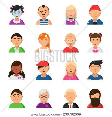 Funny Cartoon Faces. Avatars In Flat Style. Vector Character Cartoon Face, People Avatar Portrait Wo