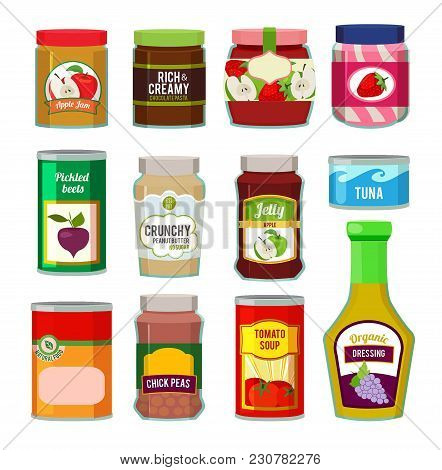 Jars With Canned Fruits And Others Different Goods. Vector Pictures In Flat Style. Food Canned And J