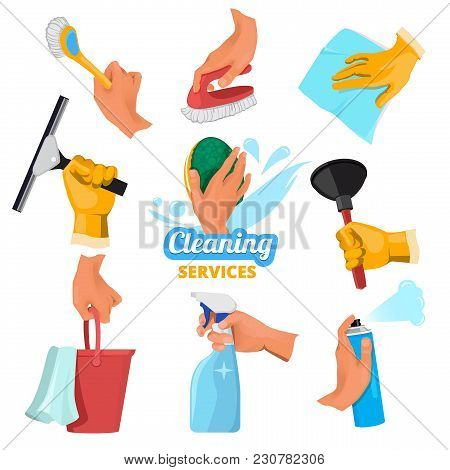 Womens Hands With Different Tools For Cleaning. Tools Clean In Hand, Cleaner And Brush, Sponge Washi