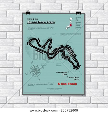 Sport Car Race Plackard With Road And Text On White Brick Wall