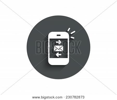 Mail Simple Icon. Smartphone Communication Symbol. Business Chat Sign. Circle Flat Button With Shado