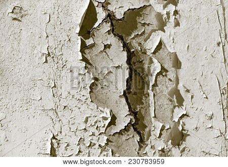 Old Cracked Paint On A Wall As A Background .