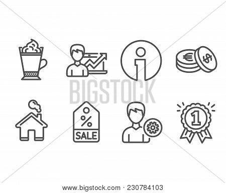 Set Of Support, Savings And Latte Coffee Icons. Success Business, Sale Coupon And Reward Signs. Edit