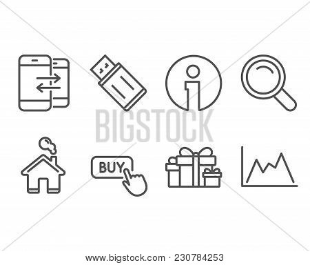 Set Of Search, Usb Flash And Phone Communication Icons. Holiday Presents, Buy Button And Diagram Sig