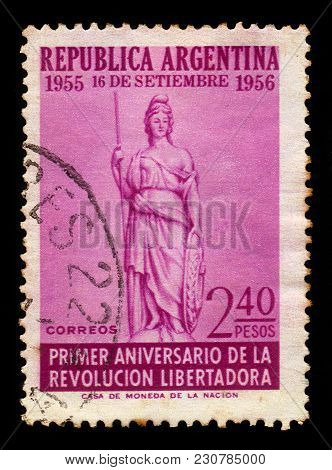 Argentina - Circa 1956: A Stamp Printed In The Argentina Shows Allegorical Image Of Liberty, 1st Ann