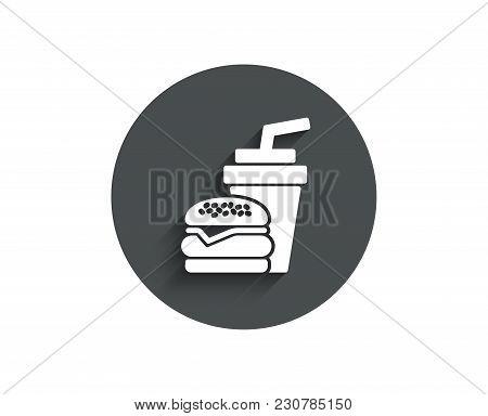 Hamburger With Drink Simple Icon. Fast Food Restaurant Sign. Hamburger Or Cheeseburger Symbol. Circl