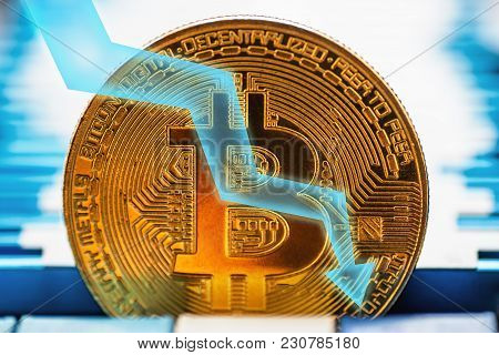 Bitcoin Fall Down. Golden Bitcoin Coin - Symbol Of Crypto Currency And Arrow Down On Tech Background