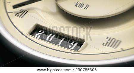 2019 New Year. Vintage Car Odometer Gauge Closeup Detail On Black Background. 3D Illustration