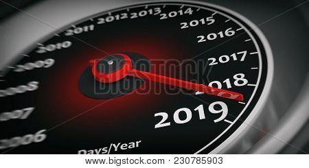 2019 New Year. Car Speedometer Gauge Closeup Detail. 3D Illustration