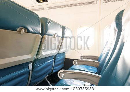 Empty Aircraft Seats And Windows. Travel Background.