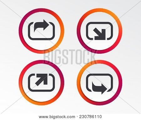 Action Icons. Share Symbols. Send Forward Arrow Signs. Infographic Design Buttons. Circle Templates.