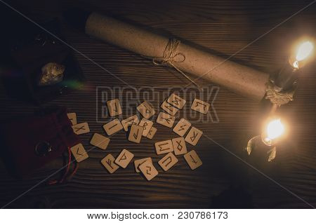 Runes Scattered On The Magic Table Of Fortune Teller. Scandinavian Divination.