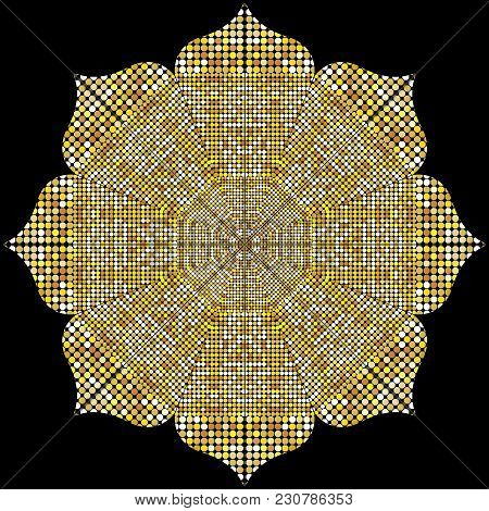 Mandala Texture With Golden Mosaics In The Byzantine Style/antique Mosaic/mosaic Tiles In Antique St