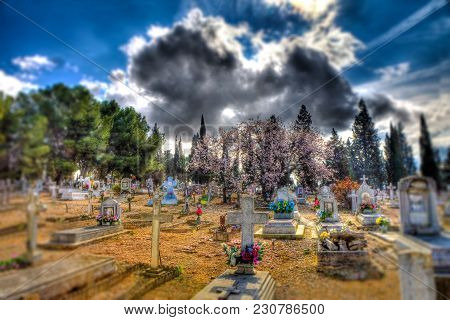 Scenic Cemetery  And Tombstone.gravestone And Halloween Background.surreal Graveyard.