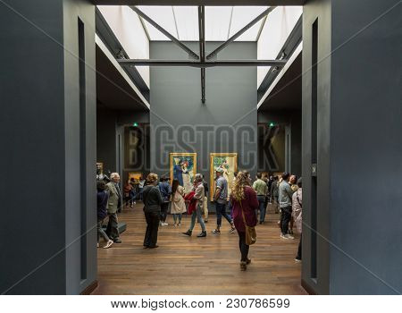 Paris, France, March 28 2017: Interior of the Musee d'Orsay in Paris, France. The Musee d'Orsay is housed in the former Gare d'Orsay, a Beaux-Arts railway station built between 1898 and 1900