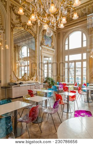 Paris, France, March 28 2017: Interior view of the cafe restaurant inside the Musee d' Orsay museum located in the former Gare d Orsay train station in Paris