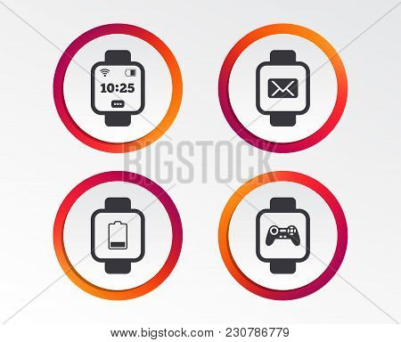 Smart Watch Icons. Wrist Digital Time Watch Symbols. Mail, Game Joystick And Wi-fi Signs. Infographi