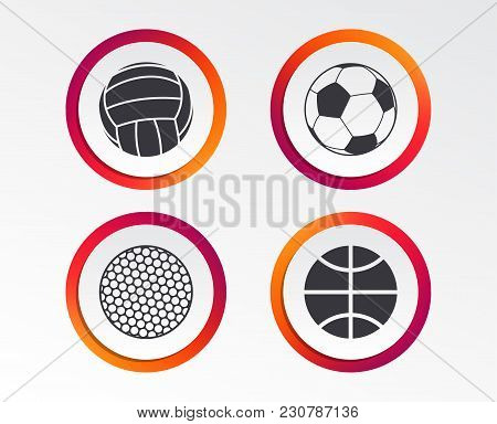 Sport Balls Icons. Volleyball, Basketball, Soccer And Golf Signs. Team Sport Games. Infographic Desi