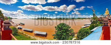 Mekong River Scenery Landscape. Asian Trip Adventures
