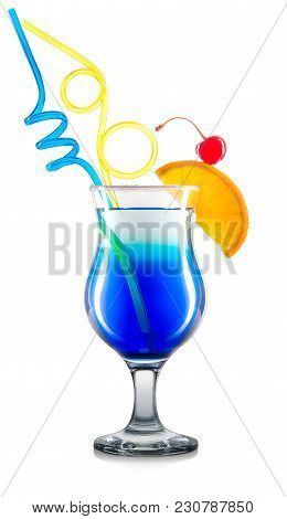 Blue Curacao Cocktail Or Mocktail In Classic Glass With Orange, Cherry And Color Tubes Isolated On W
