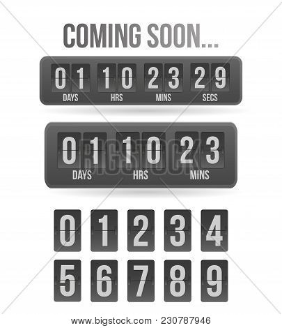 Countdown Timer. Clock Counter. Gray Mechanical Scoreboard Panel Illustration On White Background Fo