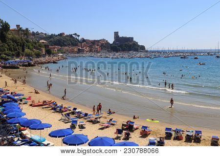 Lerici, Italy, La Spezia Province, Ligurian Riviera - August 07, 2017. Anomalous  Hot Summer Of 2017