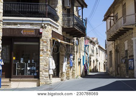 Pano Lefkara, Cyprus, 25.05.2016. Mountain World Famous Village -  Place Of Folk Crafts :  Handmade