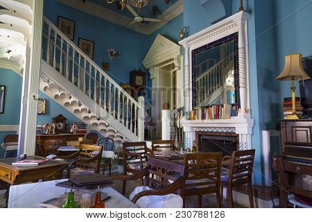 Pano Lefkara, Cyprus, 25.05.2016. Old Cafe Tasties Inside Interior.  Tourist Attraction. Mountain Wo