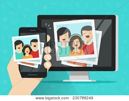 Smartphone Streaming Photo Cards On Computer Vector Illustration, Flat Cartoon Mobile Phone Connecte
