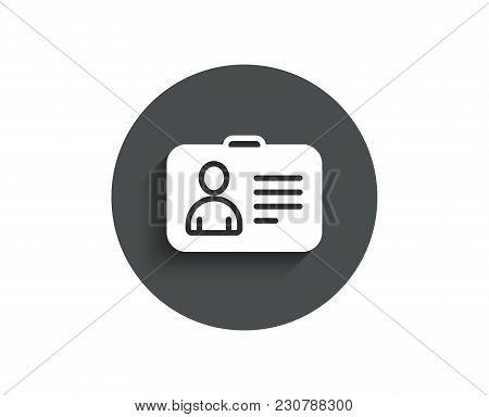 Id Card Simple Icon. User Profile Sign. Person Silhouette Symbol. Identification Plastic Card. Circl