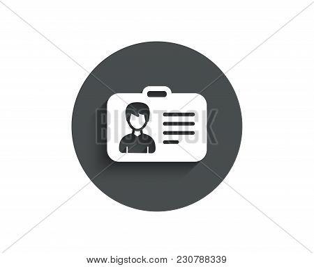 Id Card Simple Icon. User Profile Sign. Male Person Silhouette Symbol. Identification Plastic Card.