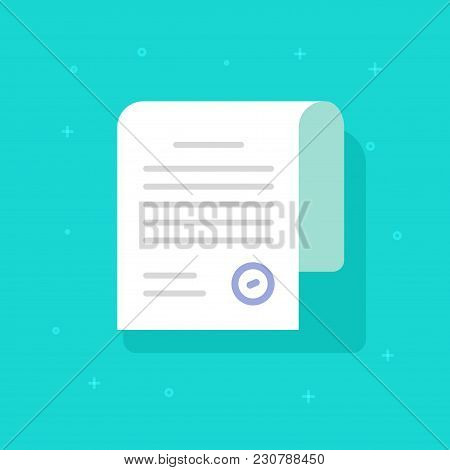 Document With Stamp Vector Icon, Flat Cartoon Paper Sheet With Text And Approved Stamp Or Seal, Lega