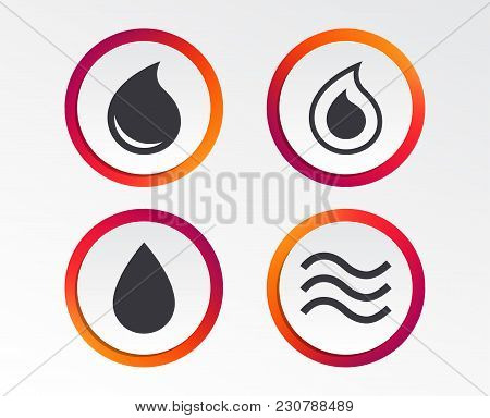 Water Drop Icons. Tear Or Oil Drop Symbols. Infographic Design Buttons. Circle Templates. Vector
