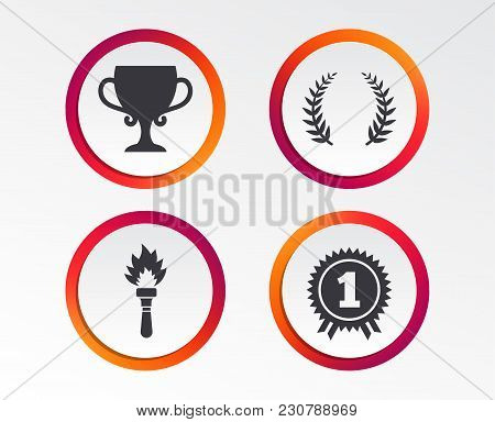 First Place Award Cup Icons. Laurel Wreath Sign. Torch Fire Flame Symbol. Prize For Winner. Infograp