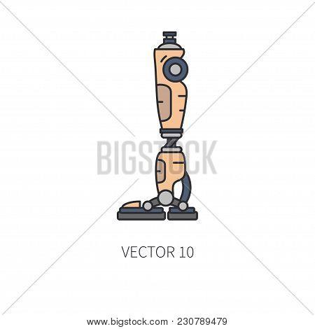 Bionic Robot Leg Prosthesis Line Icon. Bionic Prosthesis Limb. Biotechnology Futuristic Medicine. Fu