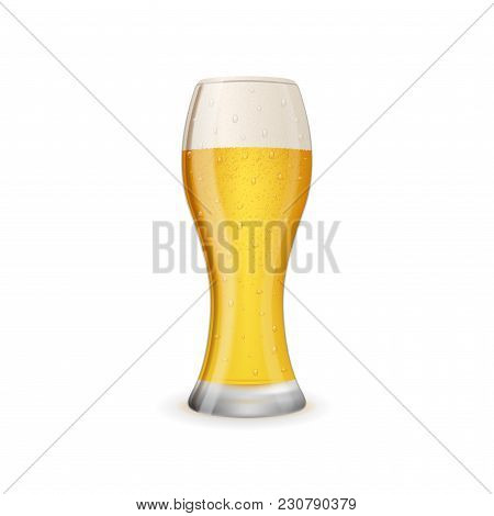 Glass Of Cold And Tasty Beer Isolated On White Background