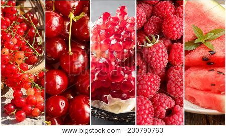 Collage With Different Fruits, Berries Of Red Color