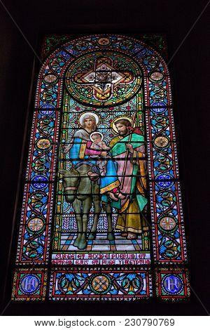 Montserrat, Spain-september 2017: Stained Glass Window In The Benedictine Abbey Santa Maria De Monts