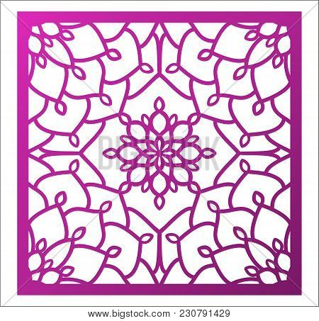 Laser Cutting Square Panel. Openwork Floral Pattern With Mandala. Perfect For Gift Box Silhouette Or