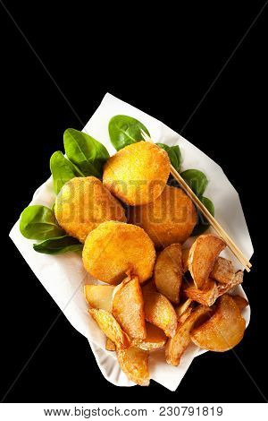 Fried Chickpea Patties, Potato Wedges. Healthy Fast Food Isolated On Black.